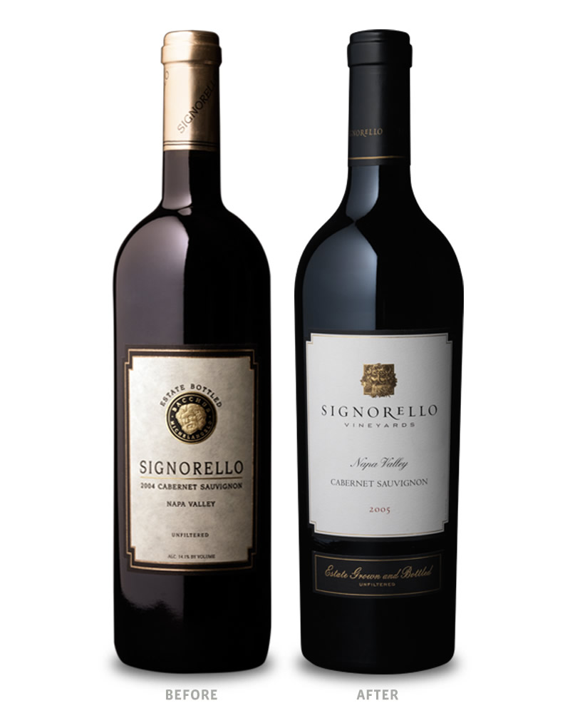 Signorello Estate Wine Packaging Before Redesign on Left & After on Right