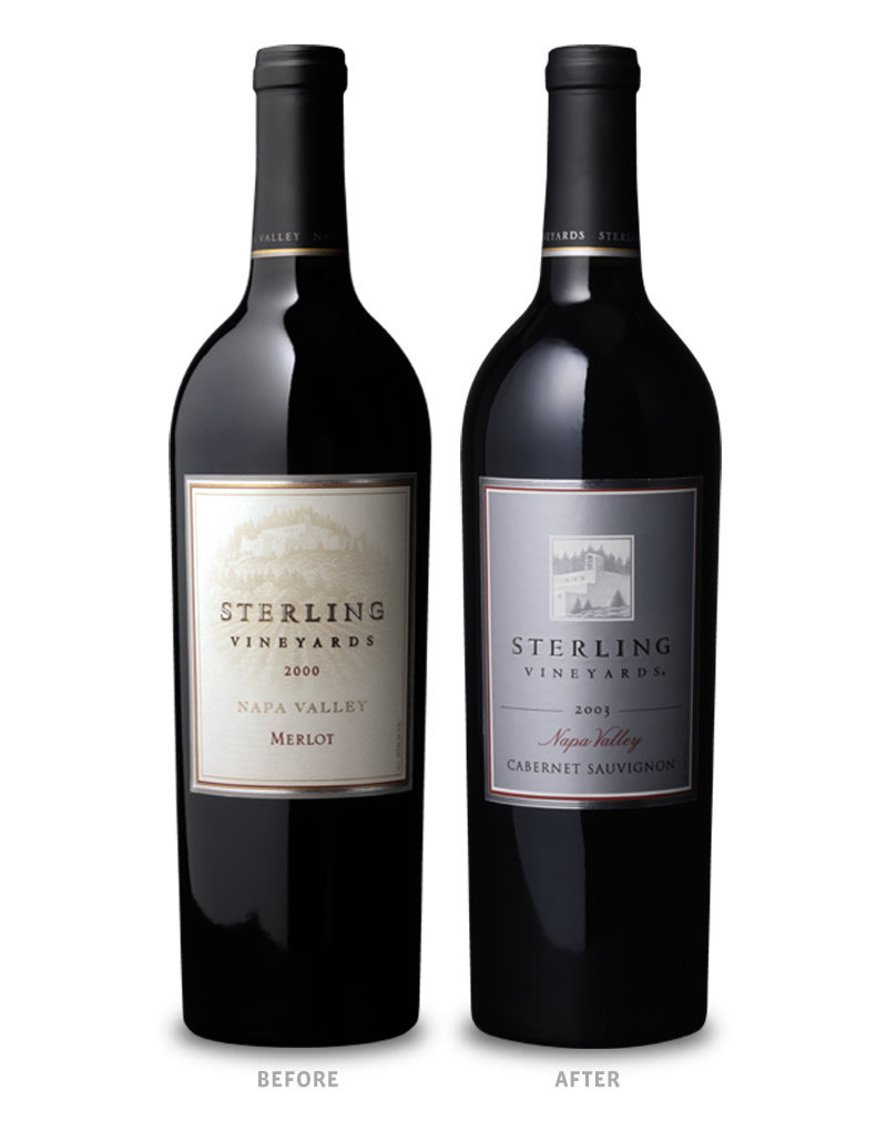 Sterling Vineyards Wine Packaging Before Redesign on Left & After on Right