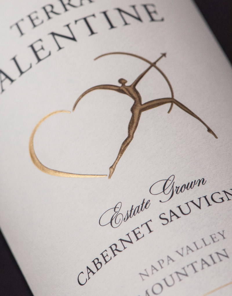 Terra Valentine Wine Packaging Design & Logo Label Detail