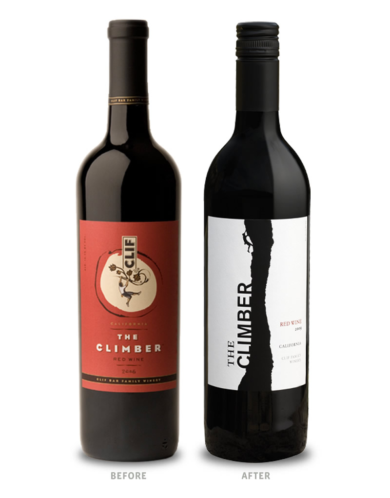 The Climber Wine Packaging Before Redesign on Left & After on Right
