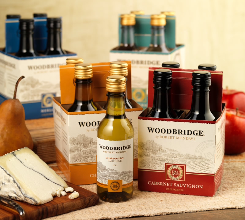 Woodbridge Wine Packaging Design & Logo 187mL Format with 6 Pack Carrier