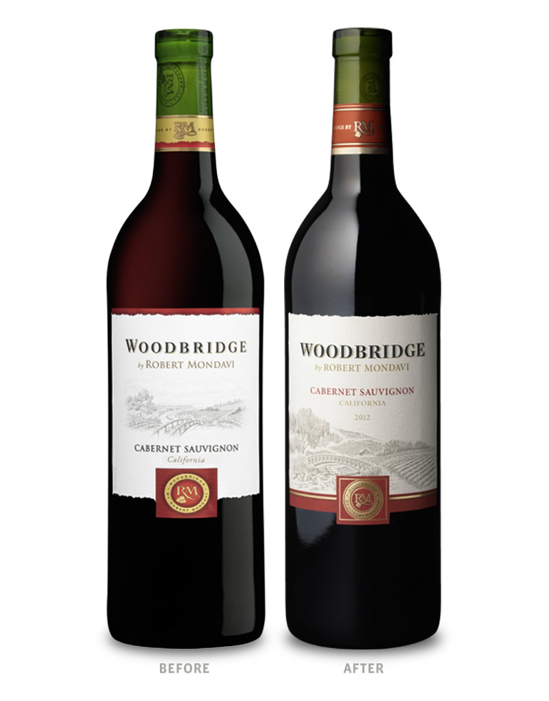 Woodbridge Wine Packaging Before Redesign on Left & After on Right