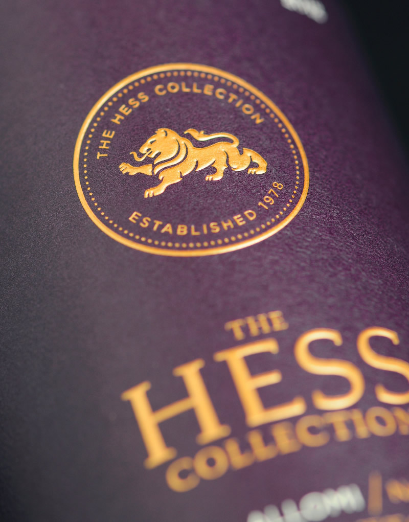 The Hess Collection Wine Packaging Design & Logo Allomi Label Detail