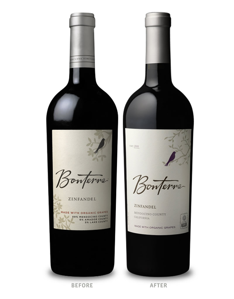 Bonterra Wine Packaging Before Redesign on Left & After on Right