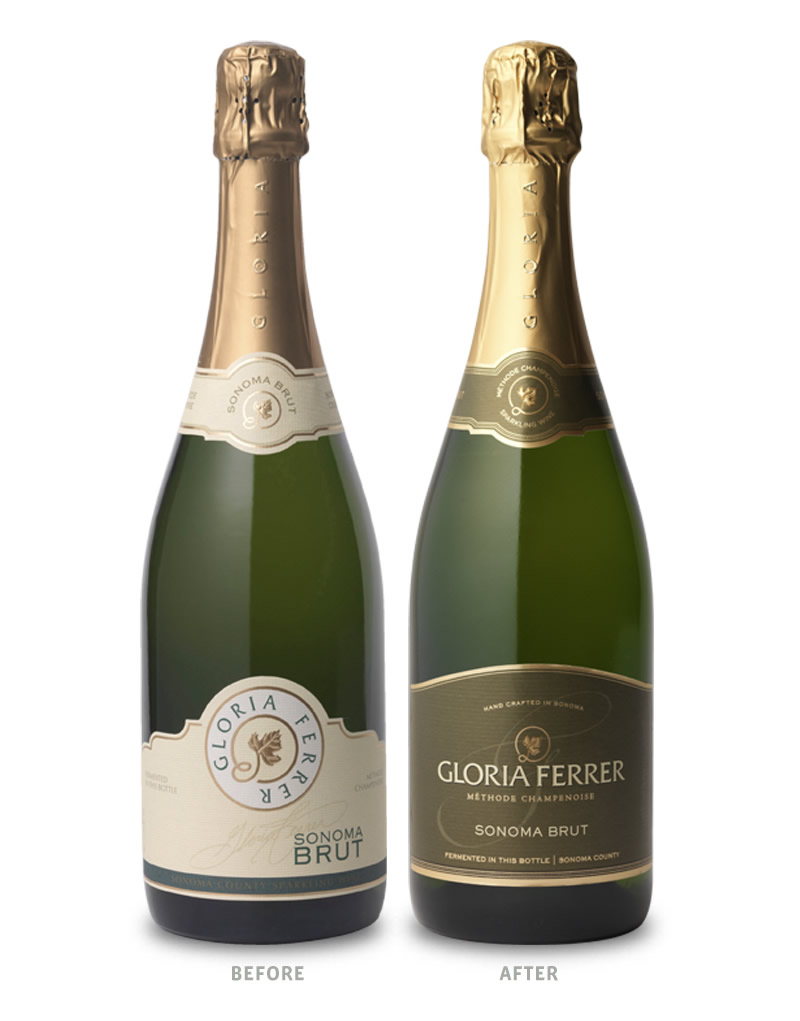 Gloria Ferrer Sparkling Brut Wine Packaging Before Redesign on Left & After on Right