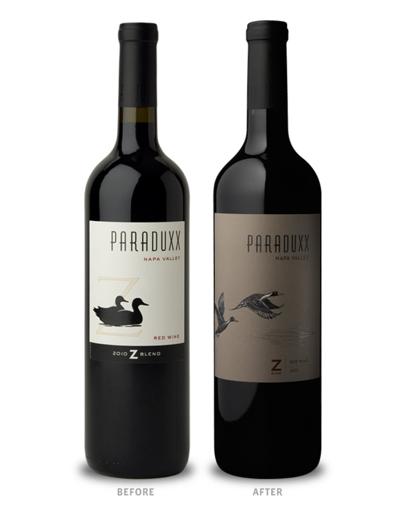 Paraduxx Wine Packaging Before Redesign on Left & After on Right