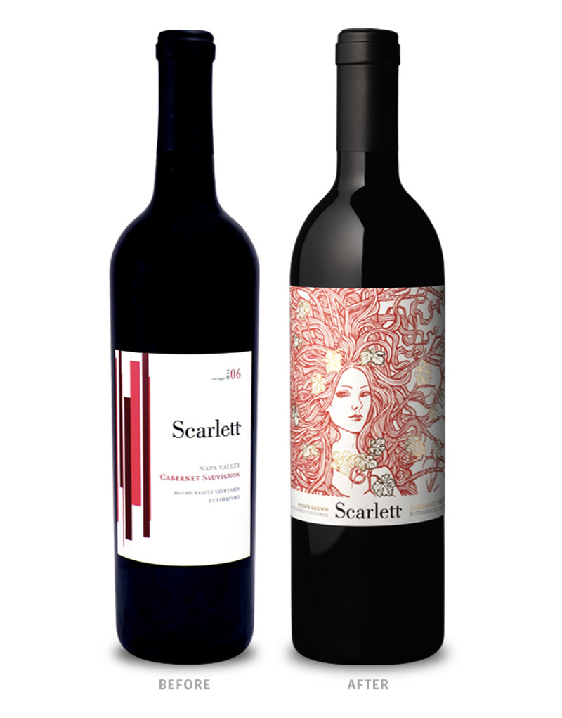 Scarlett Wine Packaging Before Redesign on Left & After on Right