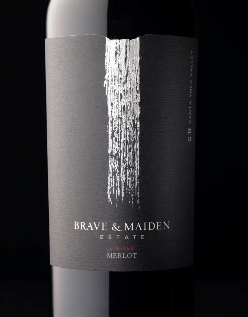 Brave & Maiden Wine Packaging Design & Logo Limited Merlot
