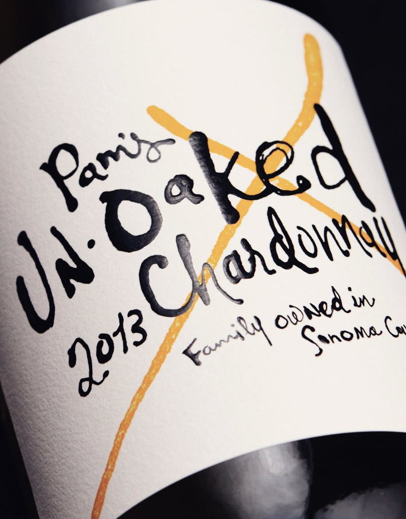 Pam's Unoaked Chardonnay Wine Packaging Design & Logo Label Detail