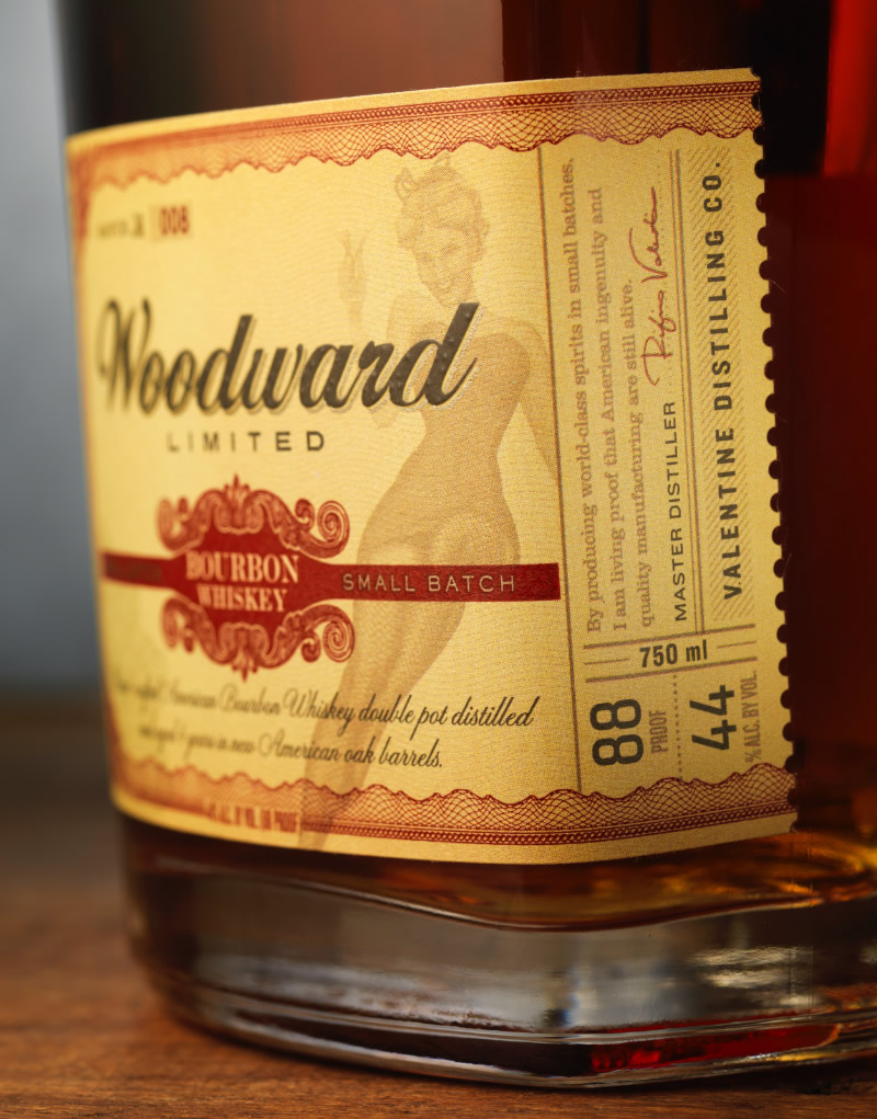 Woodward Bourbon Packaging Design & Logo Label Detail