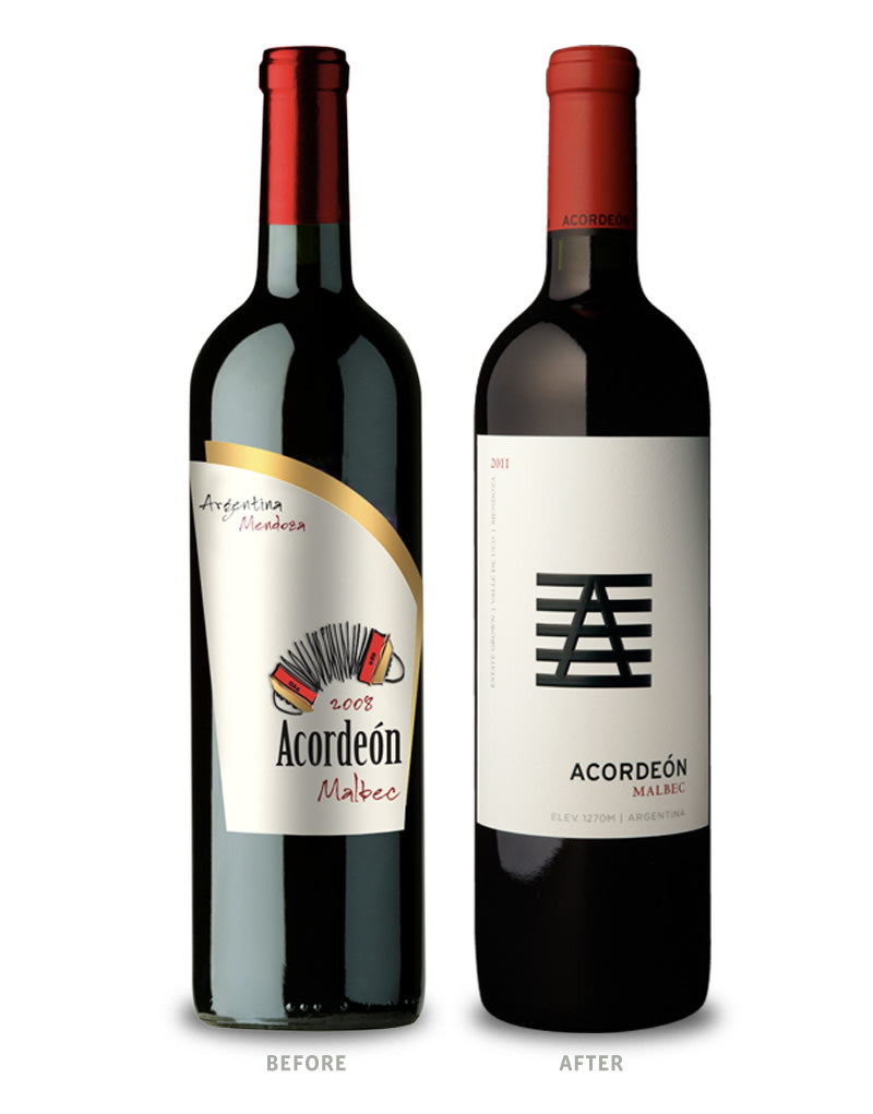 Acordeón Wine Packaging Before Redesign on Left & After on Right