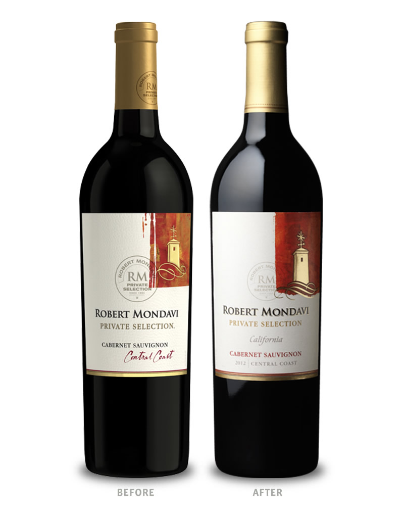 Robert Mondavi Private Selection Wine Packaging Before Redesign on Left & After on Right
