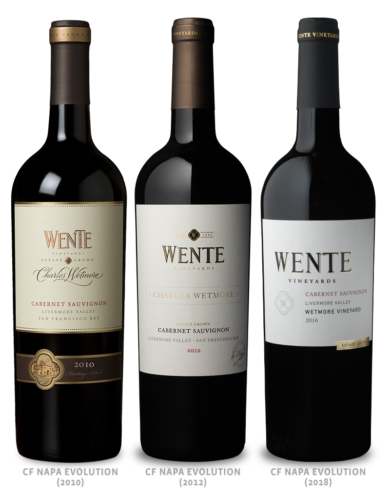Wente Vineyards Wine Packaging Before Redesign on Left & After 2 Redesigns in Middle & on Right