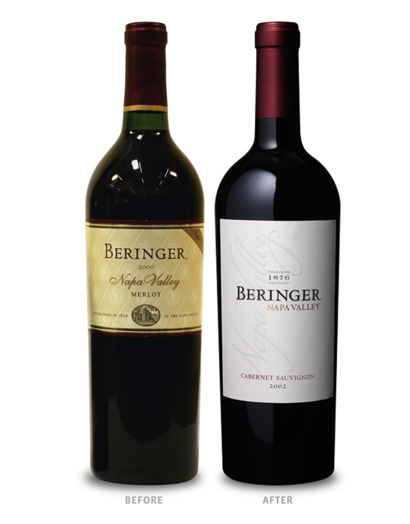 Beringer Wine Packaging Before Redesign on Left & After on Right