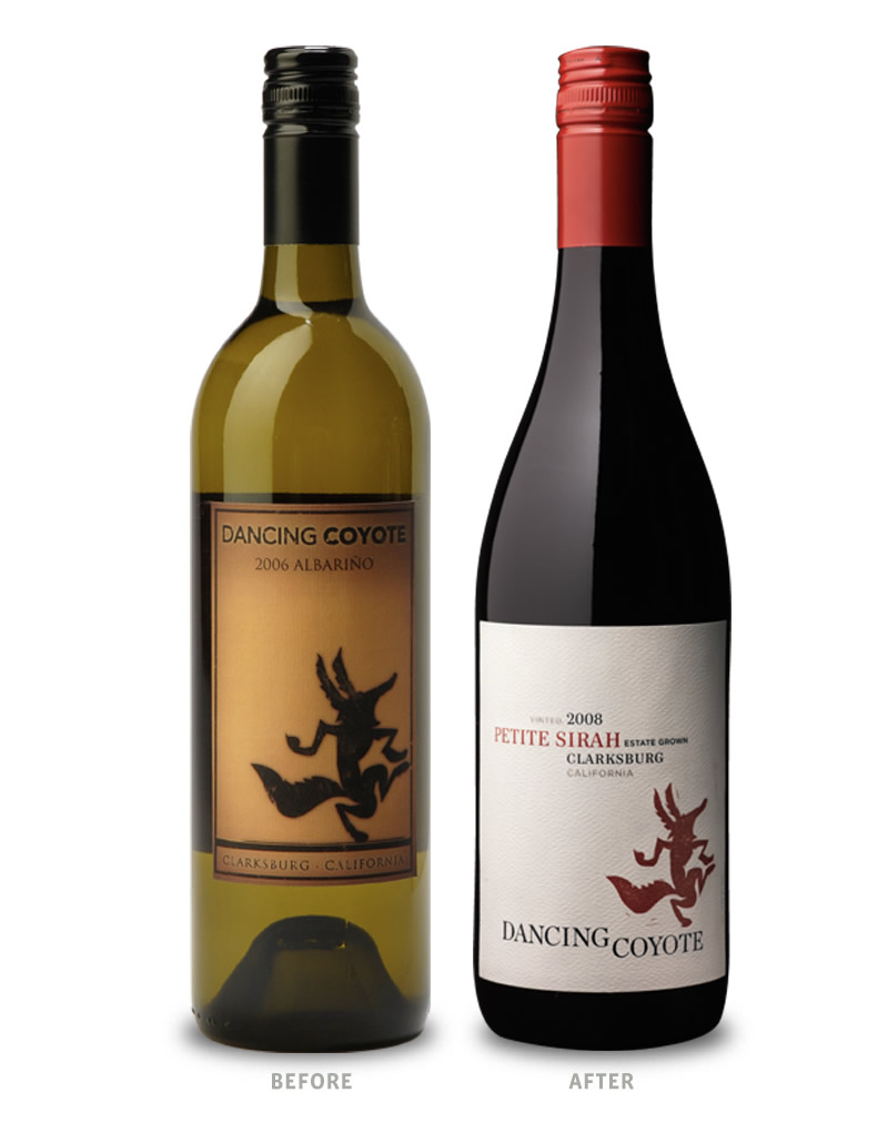 Dancing Coyote Wine Packaging Before Redesign on Left & After on Right