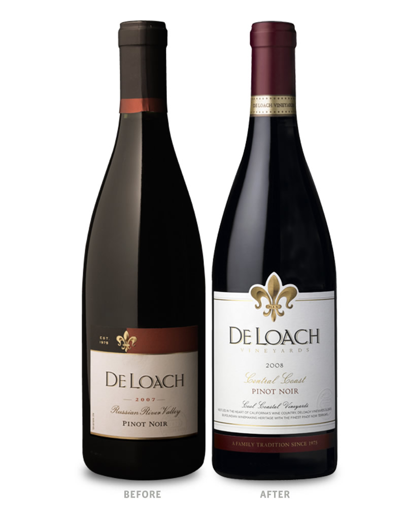 DeLoach Wine Packaging Before Redesign on Left & After on Right Russian River Valley Wine