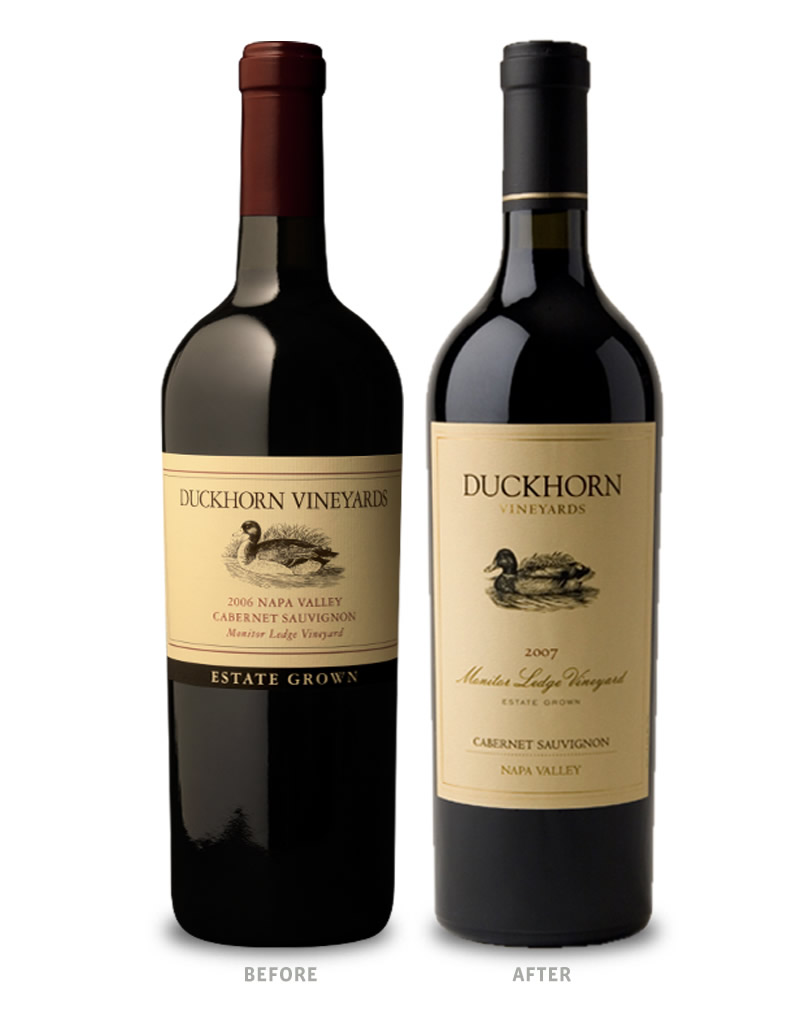 Duckhorn Vineyard Designate Wine Packaging Before Redesign on Left & After on Right