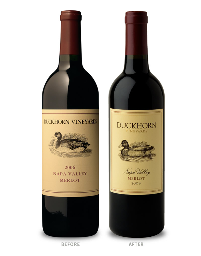 Duckhorn Wine Packaging Before Redesign on Left & After on Right