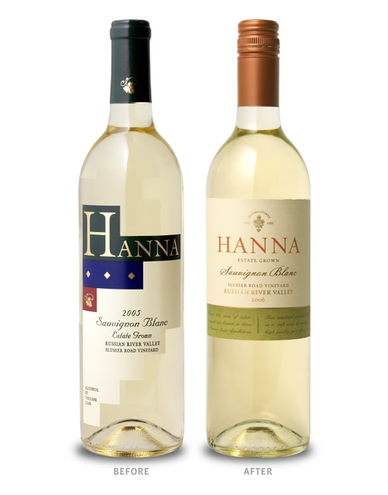 Hanna Wine Packaging Before Redesign on Left & After on Right