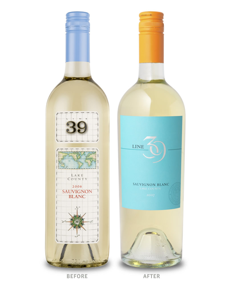 Line 39 Wine Packaging Before Redesign on Left & After on Right