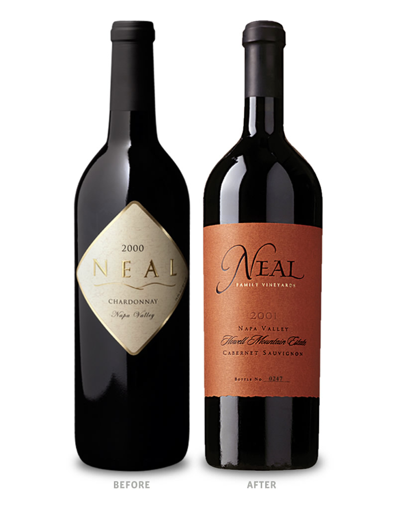 Neal Family Wine Packaging Before Redesign on Left & After on Right