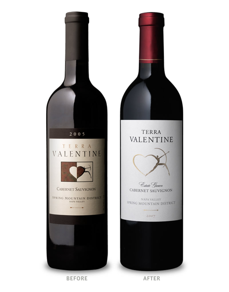 Terra Valentine Wine Packaging Before Redesign on Left & After on Right