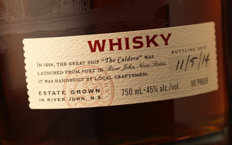 Caldera Distilling Co. Whisky Packaging Design & Logo Label Detail