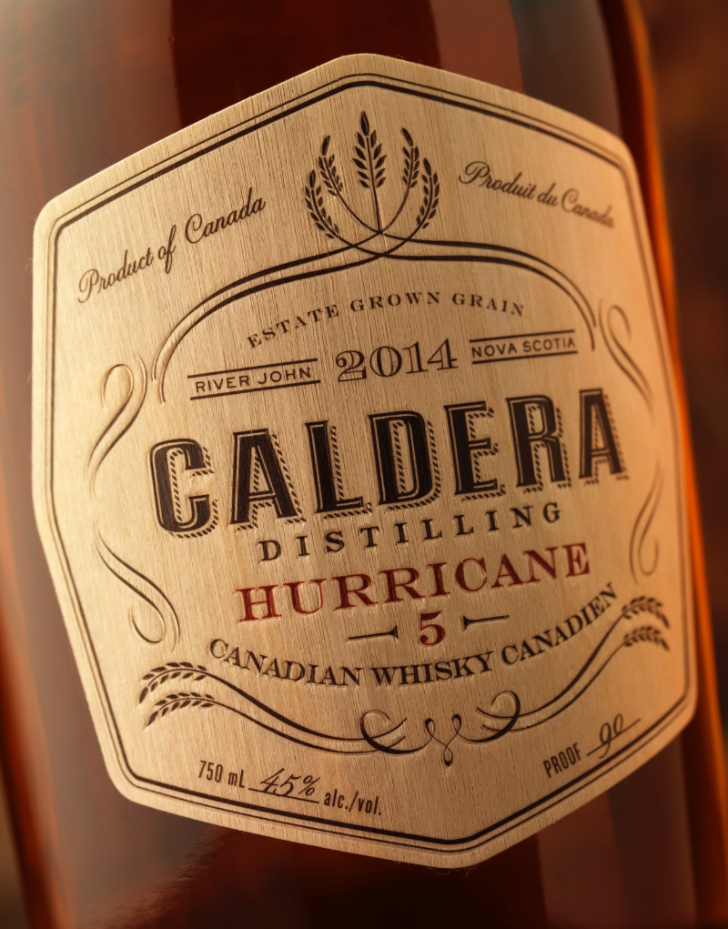 Caldera Distilling Co. Whisky Packaging Design & Logo Hurricane 5 Label Detail