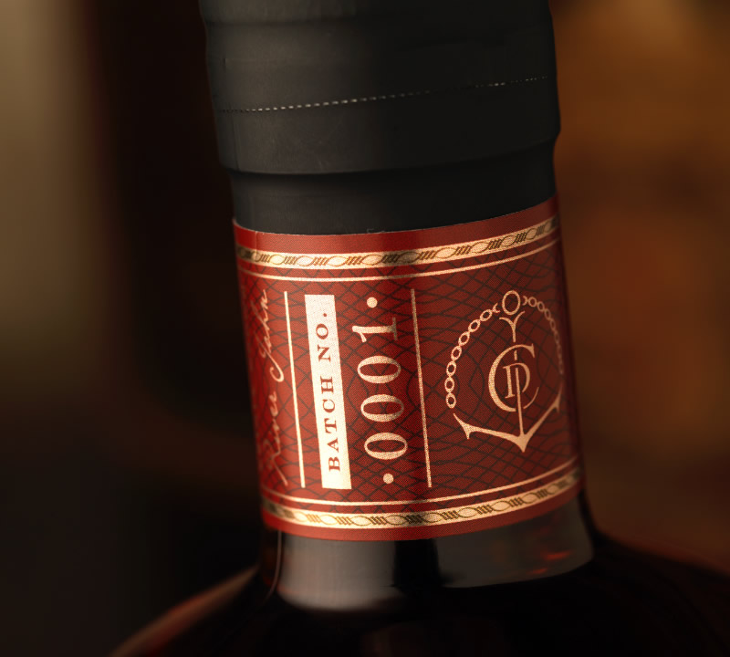 Caldera Distilling Co. Whisky Packaging Design & Logo Neck Label Detail