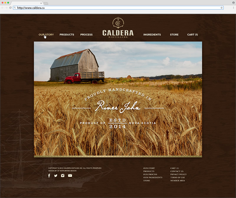 Caldera Distilling Co. Home Page Website Design