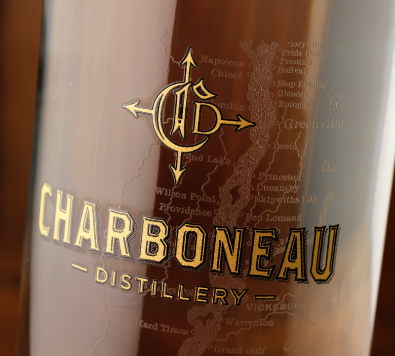 Charboneau Distillery Rum Packaging Design & Logo Bottle Detail