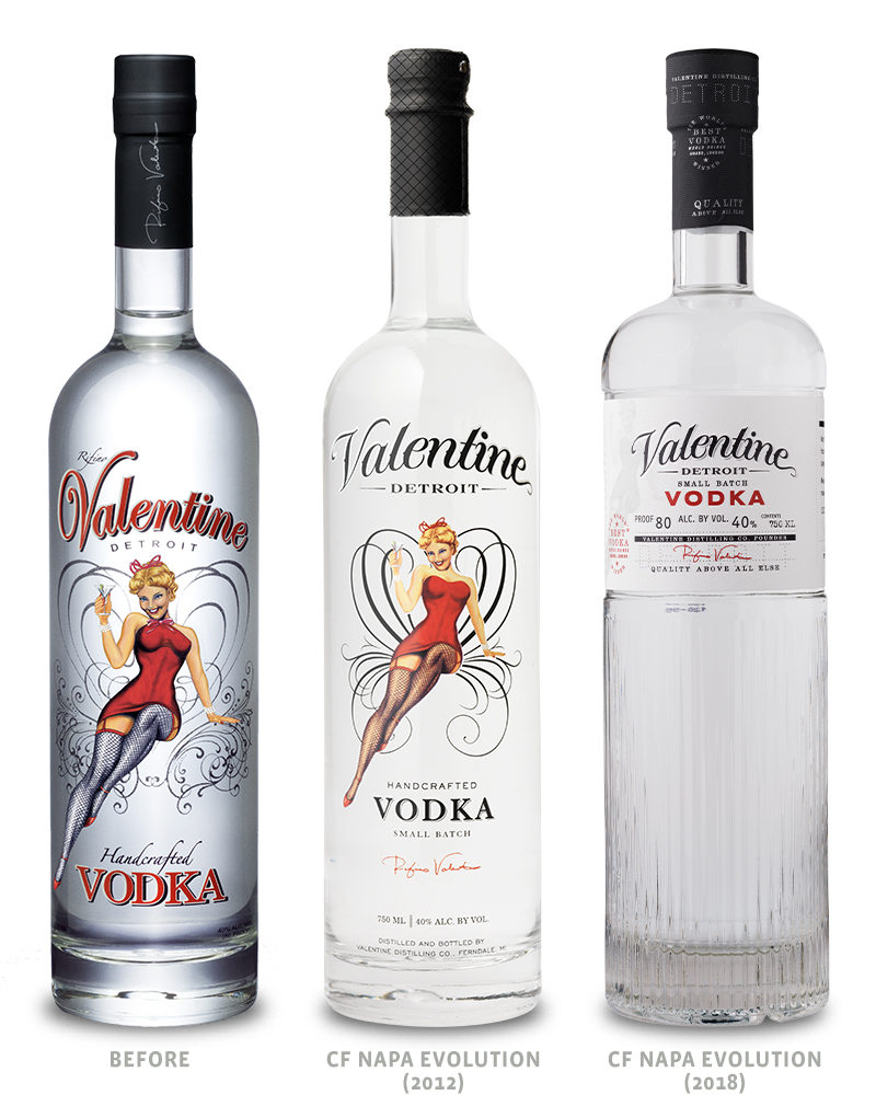 Valentine Distilling Co. Vodka Packaging Before Redesign on Left, 2012 Redesign in Middle and 2018 Redesign on Right