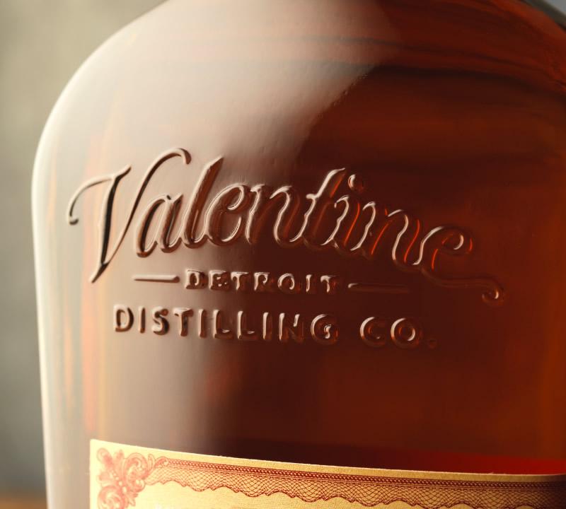 Valentine Distilling Co. Woodward Bourbon Packaging Design & Logo Bottle Detail