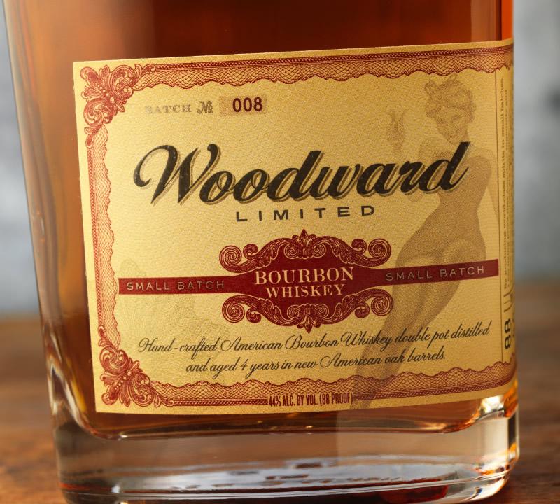 Valentine Distilling Co. Woodward Bourbon Packaging Design & Logo Label Detailn