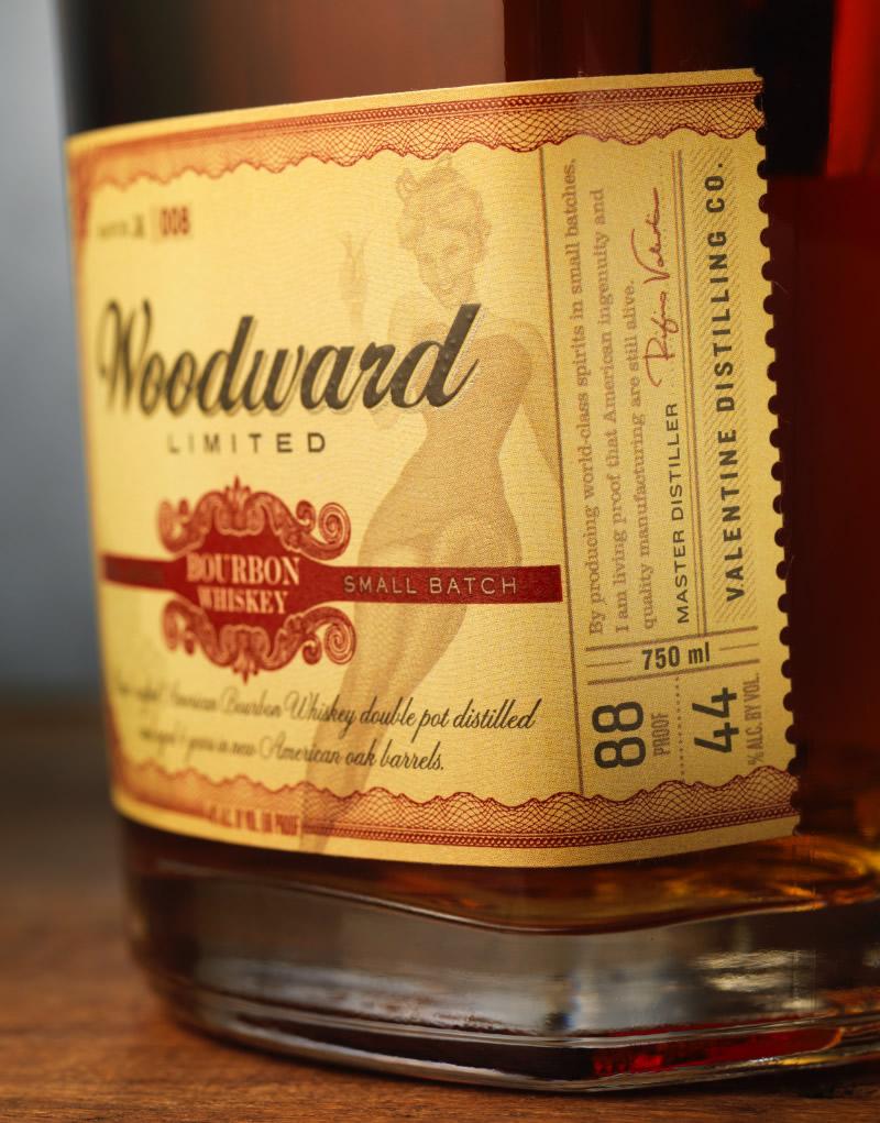 Valentine Distilling Co. Woodward Bourbon Packaging Design & Logo Label Detail