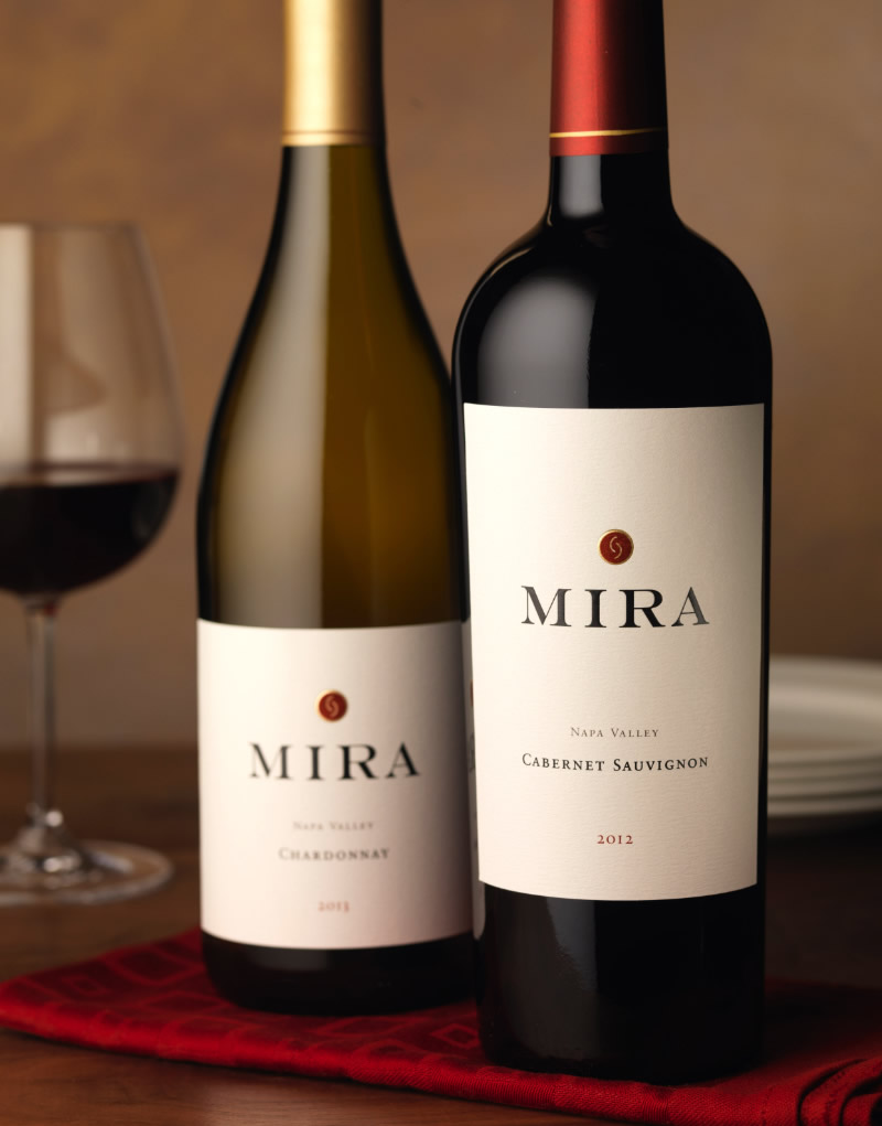 Mira Winery Packaging Design & Logo Napa Valley Chardonnay & Cabernet Sauvignon