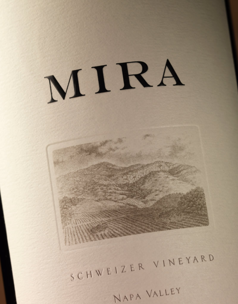 Mira Winery Packaging Design & Logo Schweizer Vineyard Label Detail