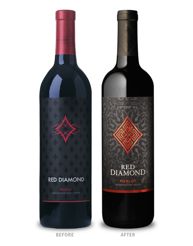 Red Diamond Wine Packaging Before Redesign on Left & After on Right