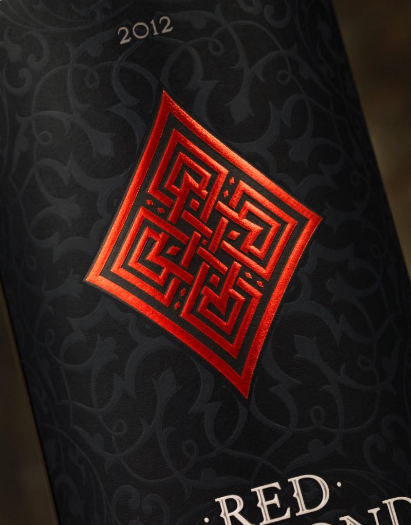 Red Diamond Wine Packaging Design & Logo Label Detail