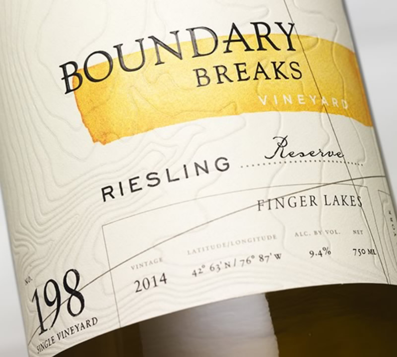 Boundary Breaks Wine Packaging Design & Logo Label Detail