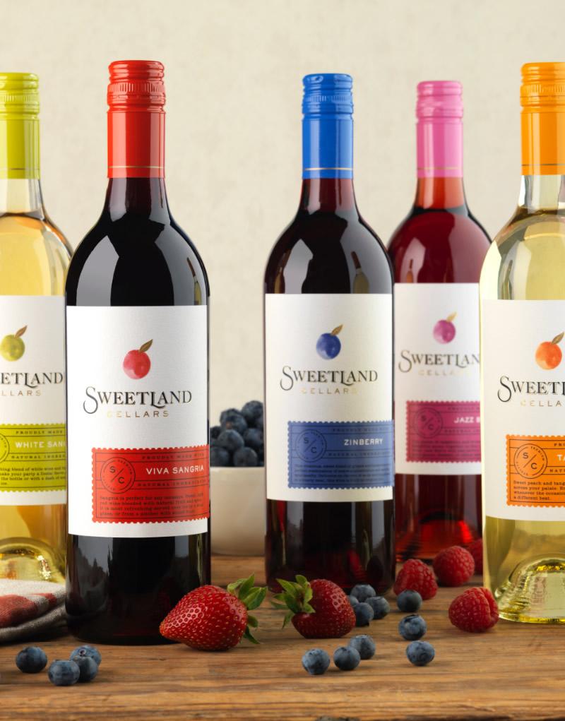 Sweetland Cellars Wine Packaging Design & Logo Group Shot