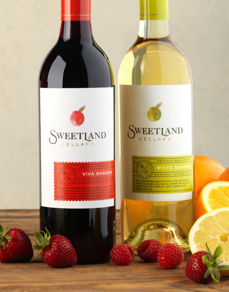Sweetland Cellars Viva Sangria and White Sangria Wine Packaging Design & Logo