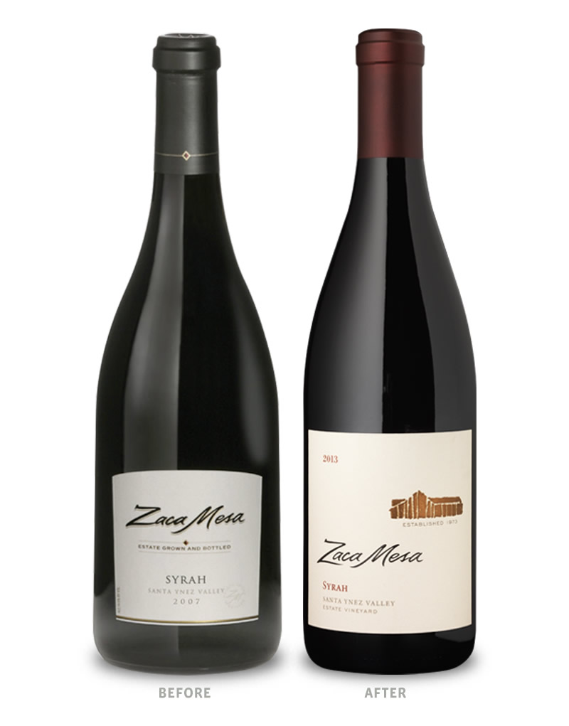 Zaca Mesa Wine Packaging Before Redesign on Left & After on Right