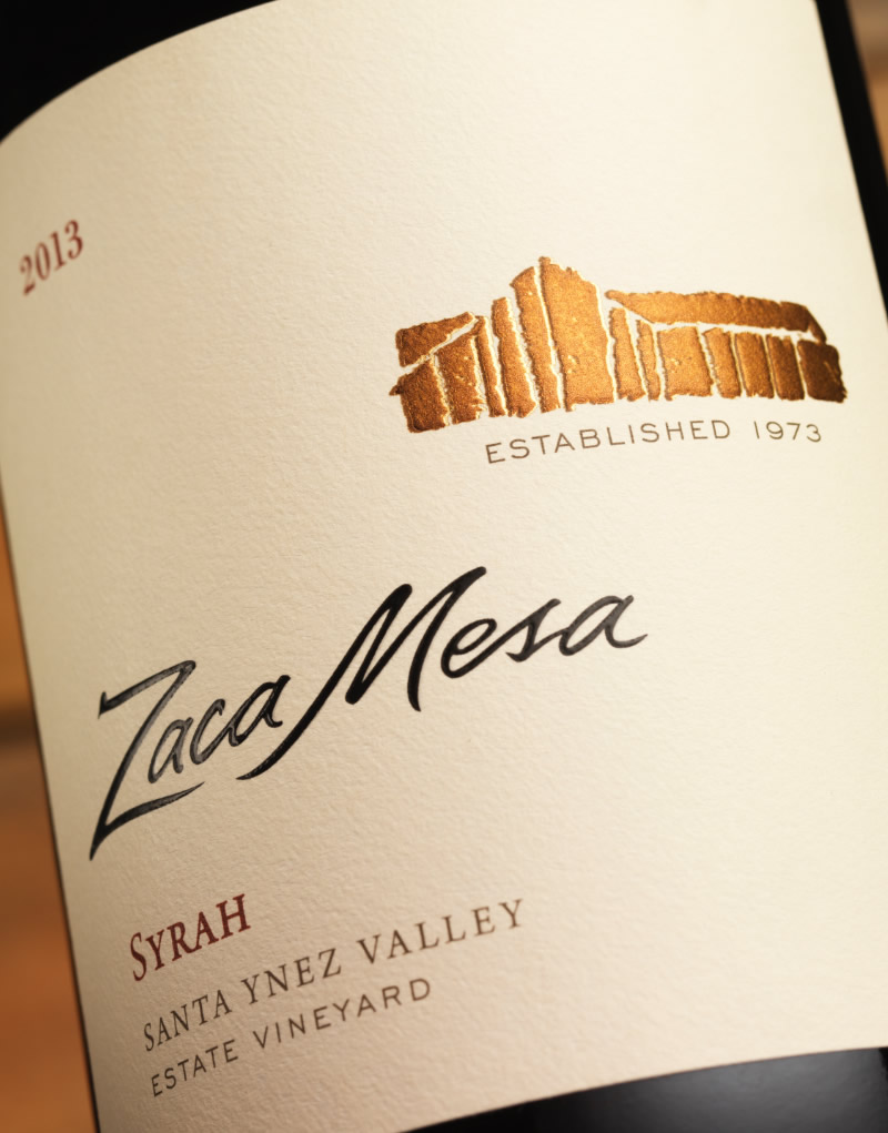 Zaca Mesa Wine Packaging Design & Logo Label Detail