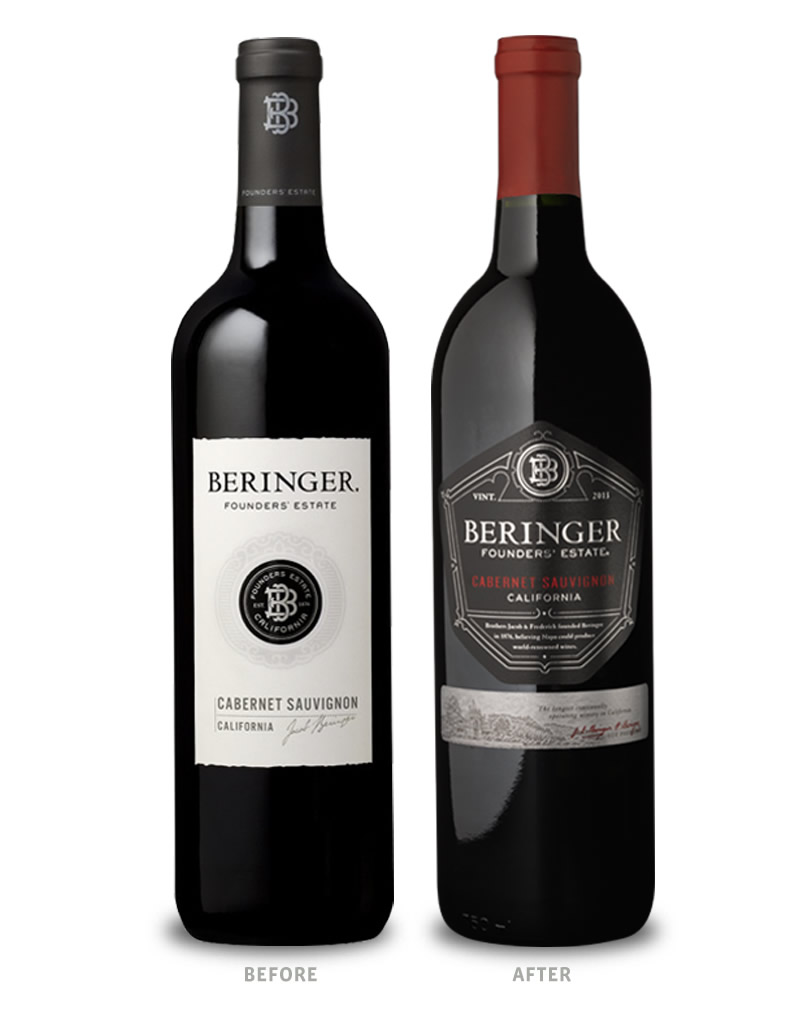 Beringer Founders' Estate Wine Packaging Before Redesign on Left & After on Right