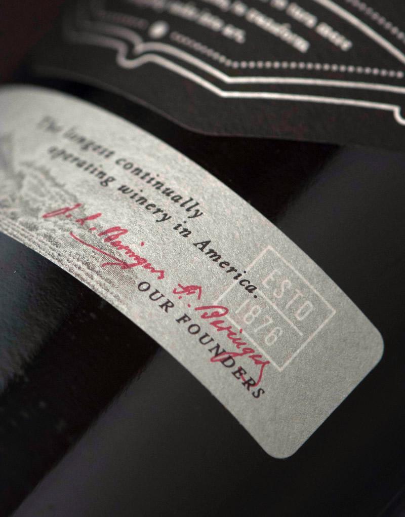 Beringer Founders' Estate Wine Packaging Design & Logo Label Detail