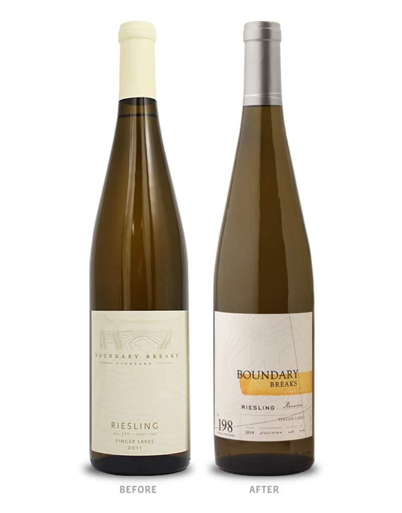 Boundary Breaks Wine Packaging Before Redesign on Left & After on Right