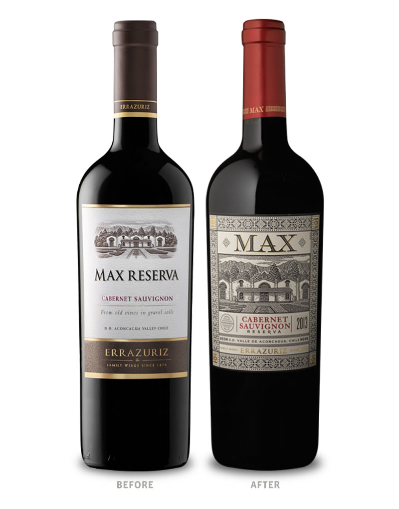 Errazuriz Max Reserva Wine Packaging Before Redesign on Left & After on Right