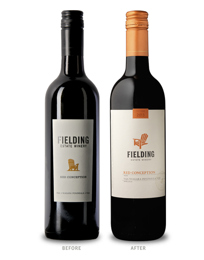 Fielding Estate Winery Before Wine Packaging Redesign on Left & After on Right