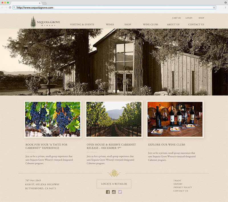 Sequoia Grove Winery Homepage Website Design
